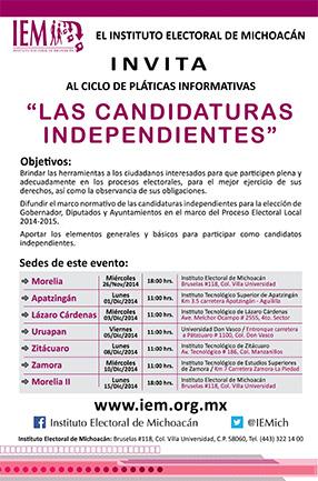 EL ITESZ sede regional de la plática Las Candidaturas Independientes abierto a todo público, entrada libre