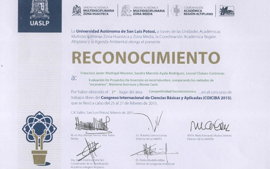 1er Lugar del Área Competitividad Socioeconómica