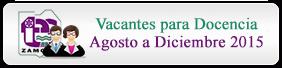 Vacantes Agosto de 2015 a Diciembre de 2015