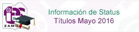Información de Status Títulos Mayo 2016