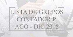 Lista de Grupos Contador Público Agosto - Diciembre 2018